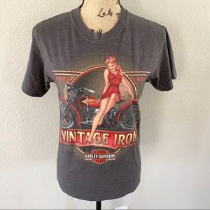 Harley Davidson Vintage Iron Pin Up Girl Tee - Sm